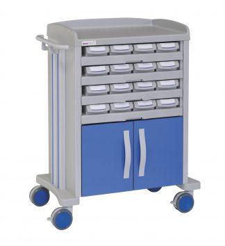 Medicine trolley - 16 medicine drawers - 1 large cabinet