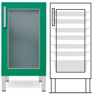 Floor cabinet - ISO - 1 glass wall and 6 1 baskets - Telescopic rail