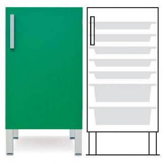 Floor cabinet - ISO-modul - 1 wall and 7 baskets - Telescopic rail