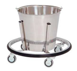 Bowl with cart on wheels for operation rooms - 12L - Support: Stainless steel