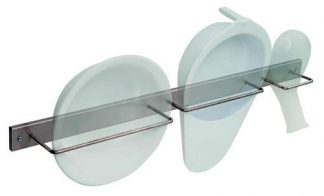 Wall mounted shelf for washbasin, bed pan and male bed pan