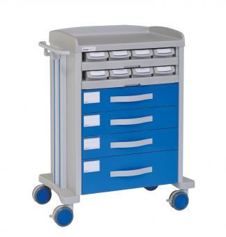 Medicine trolley - 8 medicine drawers - 4 large drawers