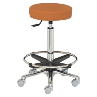 Round chair with Foot support - Flat surface - Aluminium base