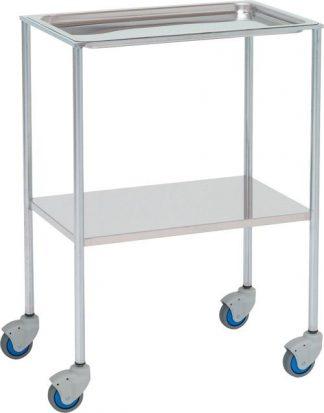 Instrument table - 2 shelves - 60x40x80 cm - Bowl shaped shelves uppe