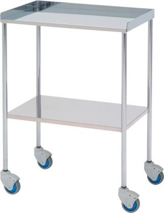Instrument table - 2 shelves - 60x40x80 cm - Top edge with 3 sides - Chrome
