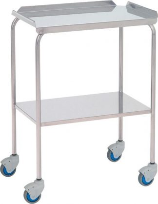 Instrument table - 2 shelves - 60x40x80 cm - Top edge - Stainless steel