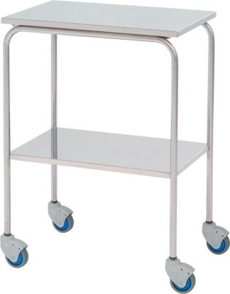 Instrument table - 2 shelves - 60x40x80 cm - Flat edges - Stainless steel