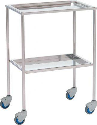 Instrument table - 2 shelves - 60x40x80 cm - Deep shelves - Stainless steel