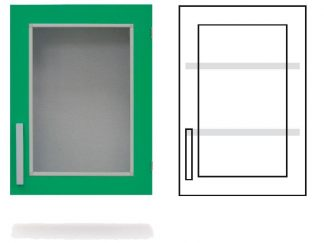 Wall cabinet - ISO-modul - 1 glass wall and 2 adjustable shelves