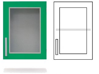 Wall cabinet - ISO-modul - 1 glass wall and 1 adjustable shelf