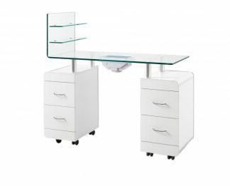 Manicure table of white plywood with fan for exhaust - 2 cabinet and 1 extra wall