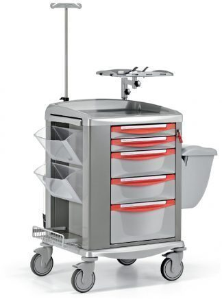 Crash cart - Fully equipped with accessories customised for emergency care - Steel frame