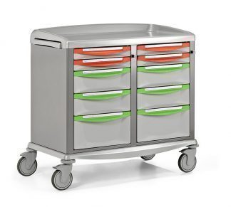 Crash cart - Extra wide - Suitable for storage and transportation