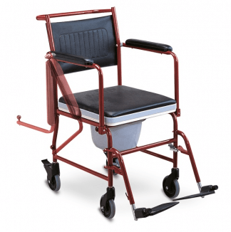 Transport commode chair with wheels and flip-up armrests
