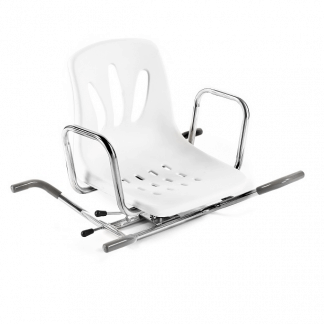 Rotating bathtub chair with back and armrests
