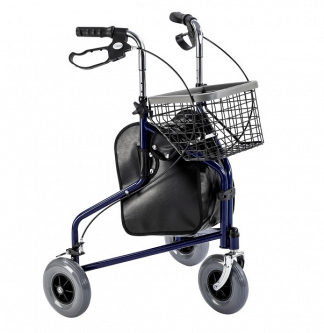 Walker made out of steel with 3 wheels