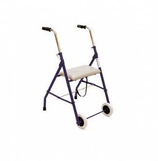 Walking frame made out of steel with 2 wheels