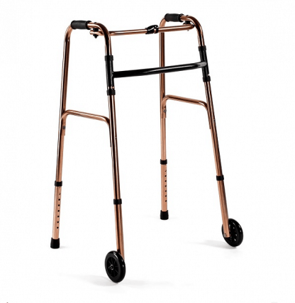 Foldable walking frame with 2 st 5 tums wheels