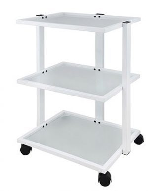 Elegant trolley with white coated steel frame with 3 shelves of glass