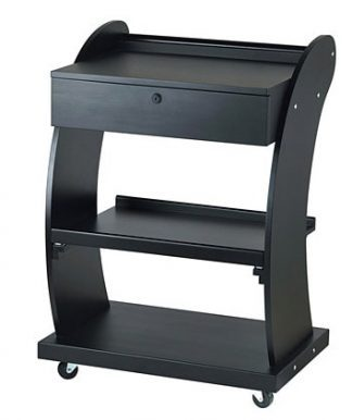 Dark wooden trolley customised for SPA facilities - 3 shelves and 1 drawer