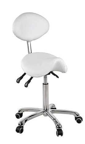 Saddle chair with oval backrest in elegant design with chromed frame