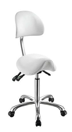 Saddle chair with Ergonomical backrest in elegant design with chromed frame