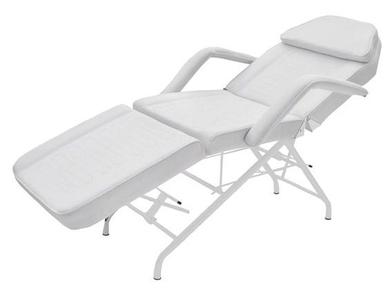 Stationary examination chair - 3 sections - White coated steel frame - PVC covering