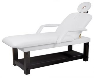Stationary spa bed - 2 sections with wooden base (PVC) - armrests