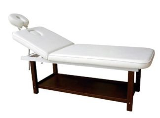 Stationary spa bed - 2 sections with wooden base (PVC) - Face rest