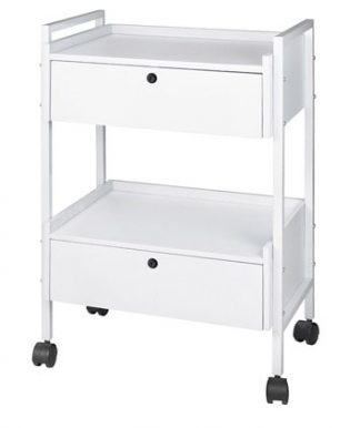 Trolley with white coated steel frame - 2 shelves and 2 drawers