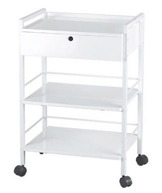 Trolley with white coated steel frame - 3 shelves and 1 drawer