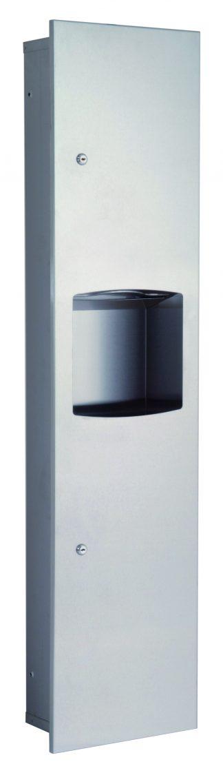 Dispenser for paper towel and waste basket