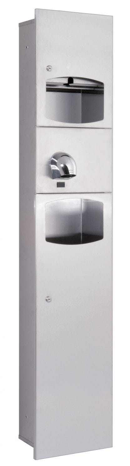 Paper tower dispenser, hand dryer (Saniflow) and waste basket