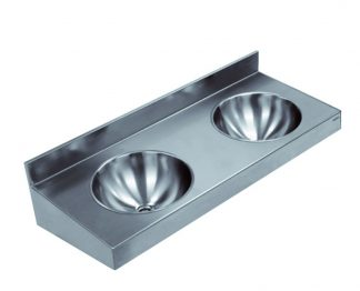 Wall mounted stainless steel wash basin (AISI 304) - 2 or 3 in a row
