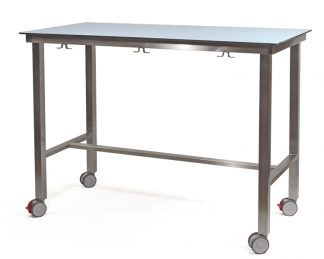 Demountable examination table with HPL on compact laminate top and wheels
