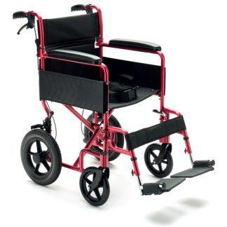 Super Lightweight Transport wheelchair with 12 inch rear wheels