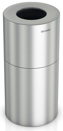 Wastepaper Bin 130L Aluminium Brushed