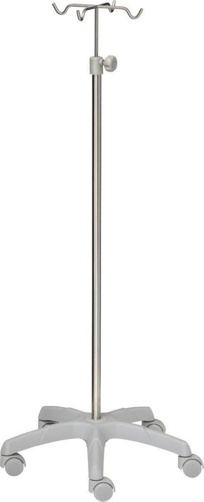IV-pole - 4 hooks - Chromed steel - Large aluminium base