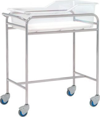 Infant bed with wheels for neonatology - Stainless steel - 80x48x85 cm