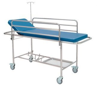 Trolley with side rails, IV-pole and oxygen container - 205x68 cm