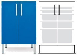 Floor cabinet - ISO - 2 doors and 2 2 1 baskets - Telescopic rail