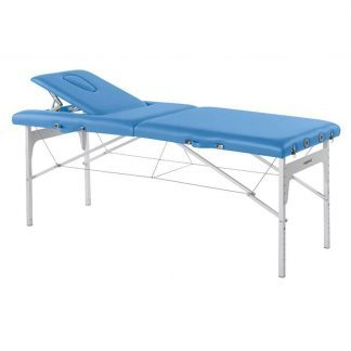Foldable massage table (Alu) - 2 sections - 182x70cm - Adjustable height/backrest
