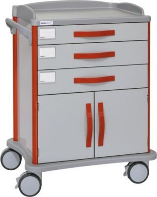 Hospital trolley - 3 drawers - 2 cabinet doors (customised for ISO baskets)