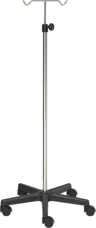 IV-pole - 2 hooks - Stainless steel - Extra Large base made out of black PVC