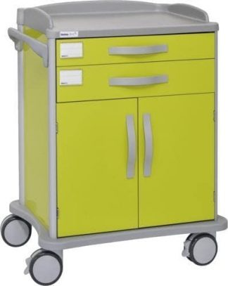 Hospital trolley - 2 drawers - 2 cabinet doors (customised for ISO baskets)