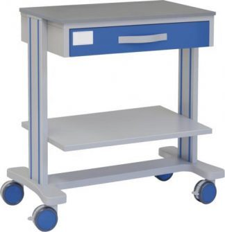 Multifunctional hospital trolley with 1 drawer and 2 shelves