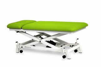 Electric treatment table for pediatric use - 2 sections with scissor lift and wheels