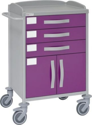 Hospital trolley with 1 shelves - 3 drawers - 1 cabinet - Epoxy coating