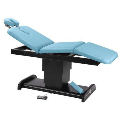 Electric treatment table / massage table - 3 sections with wooden base (dark finish)