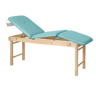 Stationary treatment table - 3 sections with wooden base - Adjustable - Central fold